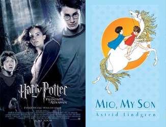 Harry Potter and the Prisoner of Azkaban movie poster and Mio My Son book cover